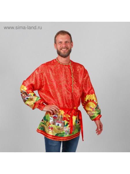 Рубаха русская мужская Русские сказки атлас р-р 48-50