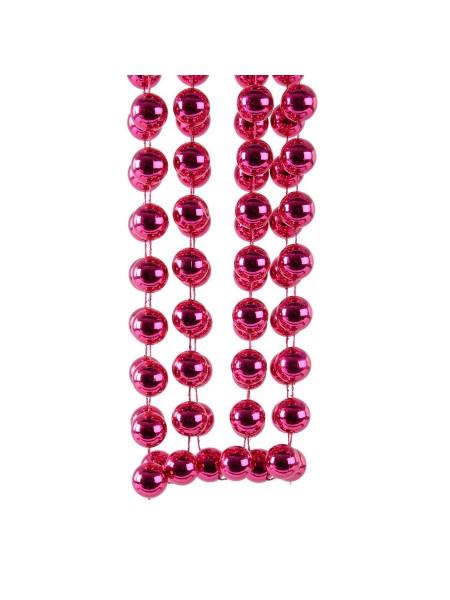Гирлянда из бусин 20 мм х 270 см пластик цвет фуксия