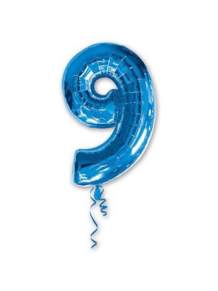 Фольга шар Цифра 9 Blue 34