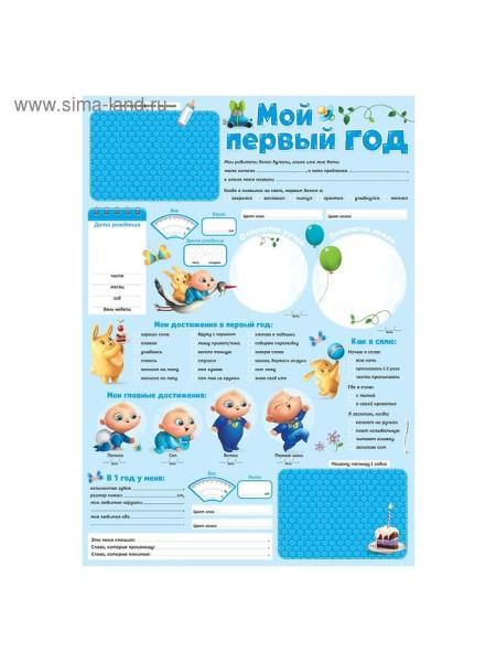 Плакат для новорожденного Мой первый год голубой