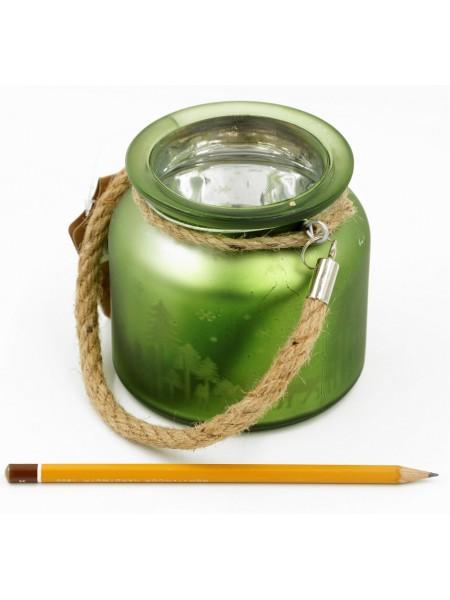 Подсвечник - банка 11 х 11 х 10 см цвет зеленый HS 58-24