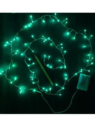Электрогирлянда бахрома светодиодная 240см цвет зеленый  батарейки