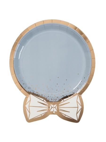 Тарелка бумага фигурная Свадьба Lux Grey 6 шт 25 см