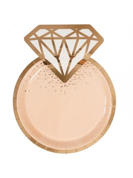 Тарелка бумага фигурная Свадьба Lux Peach 6 шт 25 см