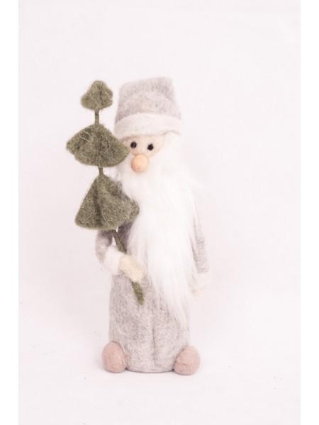 Дед Мороз с елкой войлок 22 см