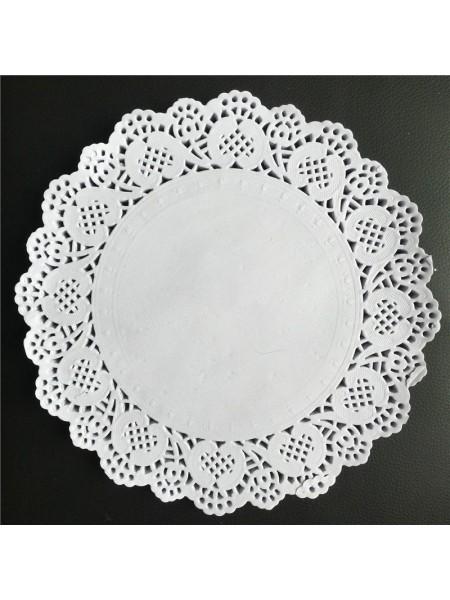 Салфетки ажурные 22 см круглые набор 100 шт цвет белый HS-38-13