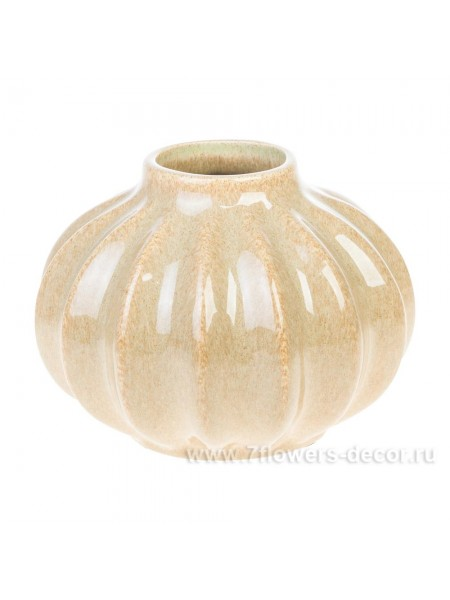 Ваза керамика рельефная18 х 18  х H14 см цвет песочный Арт. 30656-18
