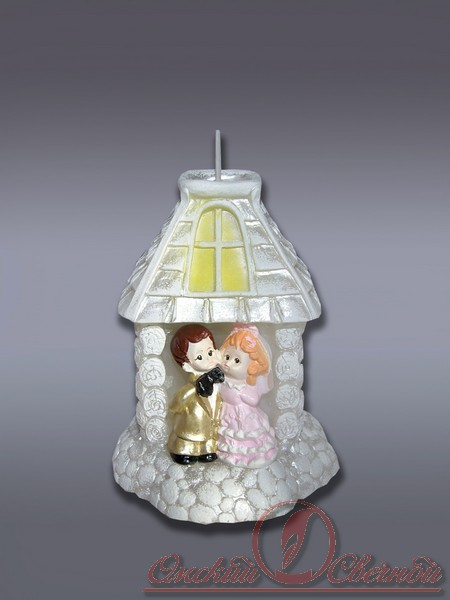Домик с молодоженами хамелеон свеча