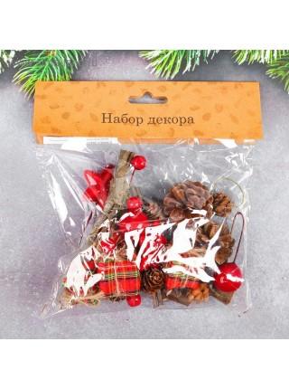Декор новогодний Шишки и подарочки набор