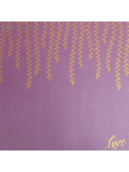 Бумага жемчужная с фольгированием Люблю 20 х 20 см