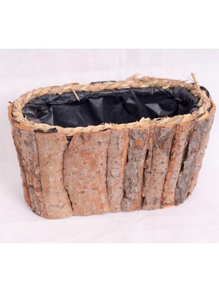 Кашпо деревянное овал 32 х 15,5 х 17