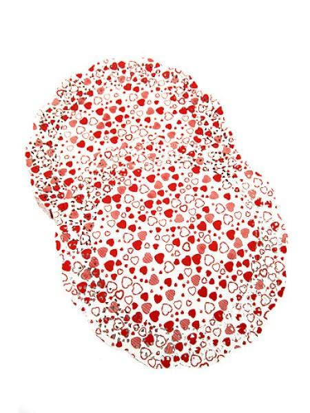 Салфетки ажурные цветные 300/01d 30 см 1/250 круглые красные сердечки
