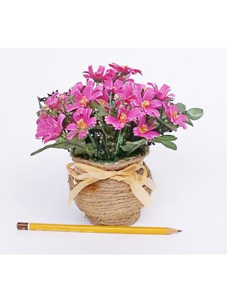 Цветы в плетенном кашпо цвет МИКС HS-19-5