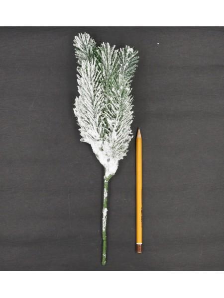 Ветка хвойная заснеженая бело-зеленая 34 см HS-38-5