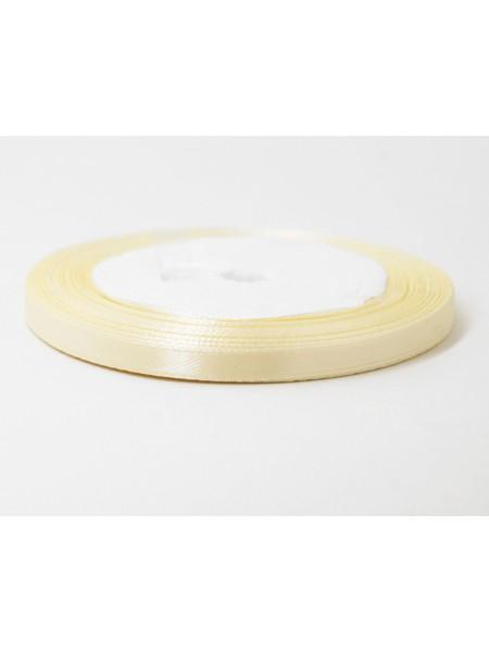 Лента атлас 0,6 см х 25 ярд цвет крем брюле