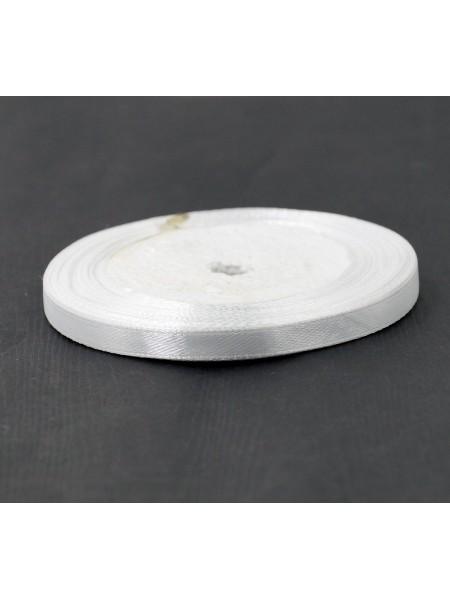 Лента атлас 0,6 см х 25 ярд цвет белый