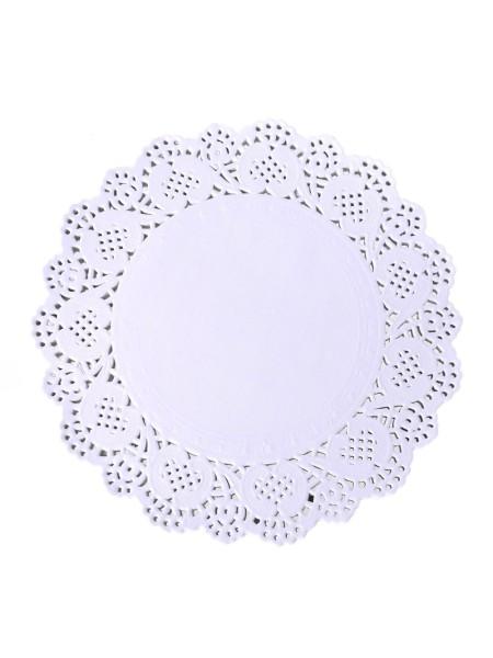 Салфетки ажурные 17,5 см круглые набор 100 шт цвет белый HS-38-11