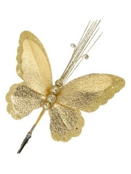 Бабочка на клипсе 19 х 34 см фольга/полиэстр цвет золотой  новый год