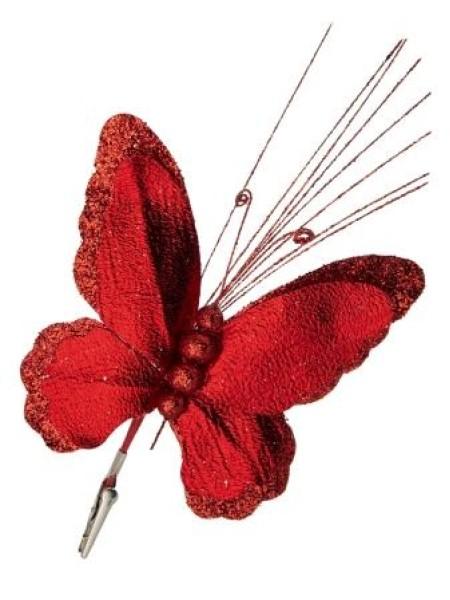 Бабочка на клипсе 19 х 34 см фольга/полиэстр цвет красный  новый год
