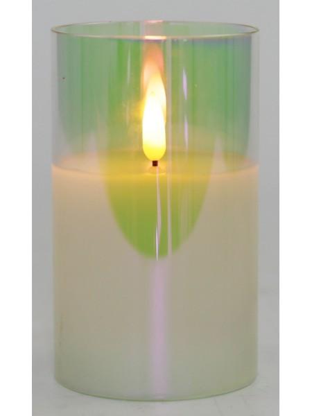 Свеча светодиодная в стакане с мерцающим светом 7,5 х 7,5 х 12,5 перламутр