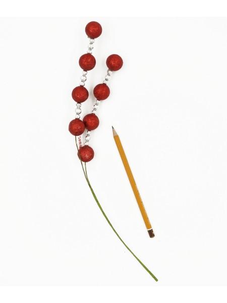 Елочное украшение вставка Шарики красный+серебро