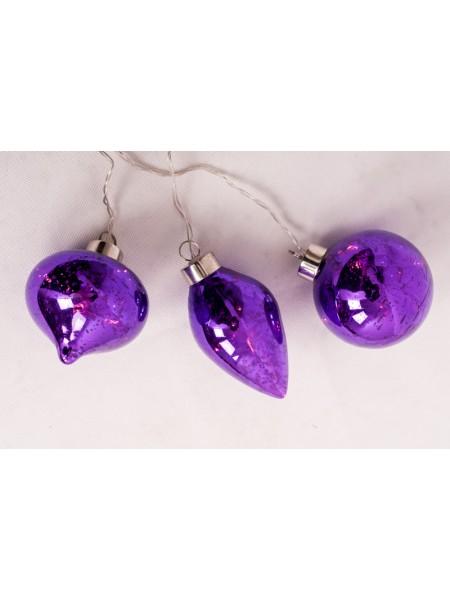 Электрогирлянда Шары 8см LED3 шт цвет Фиолетовый