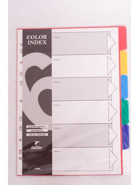 индекс-разделитель 6 цветов пластик 6ТВА