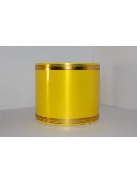 Лента с золотой полосой 10см*50ярд А1002 цв.желтый