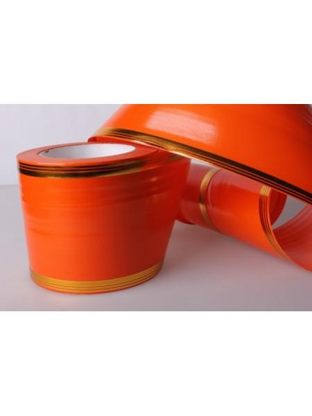 Лента с золотой полосой 10см*50ярд А1019 цв.оранжевый
