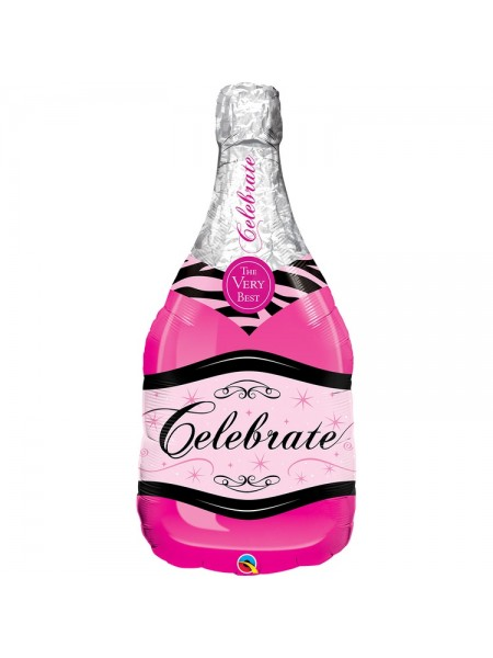 Фольга шар фигура 5 Бутылка шампанского розовая Qualatex