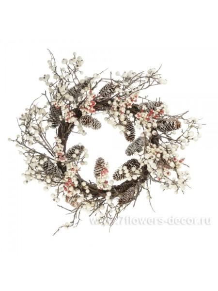 Венок с ягодами и шишками 60 см цвет Белый JL201526