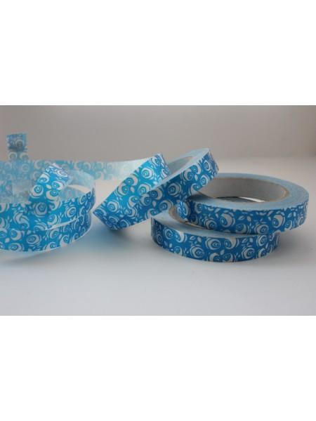 Лента простая 2см х 50м Роза крупная белая на голубом Р281