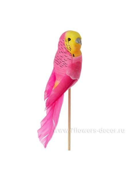 Попугай на вставке 14,5 х 50 см цвет Розовый пластик Арт.К40586