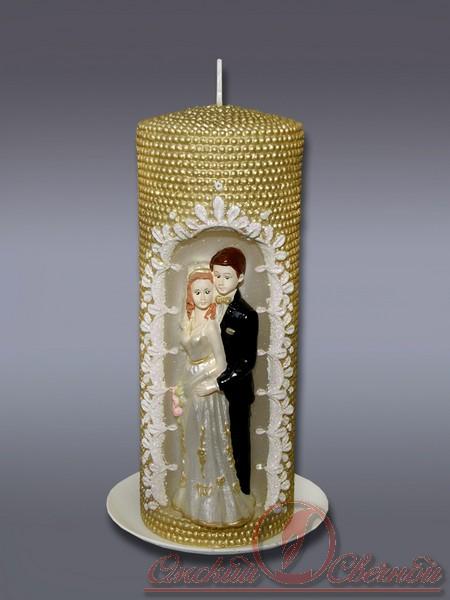 пеньковая Жемчужная с молодож.золотая свеча хамеле