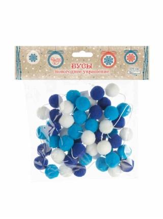 Гирлянда 170 х 2 см белый с оттенками синего /полиэстер   новый год