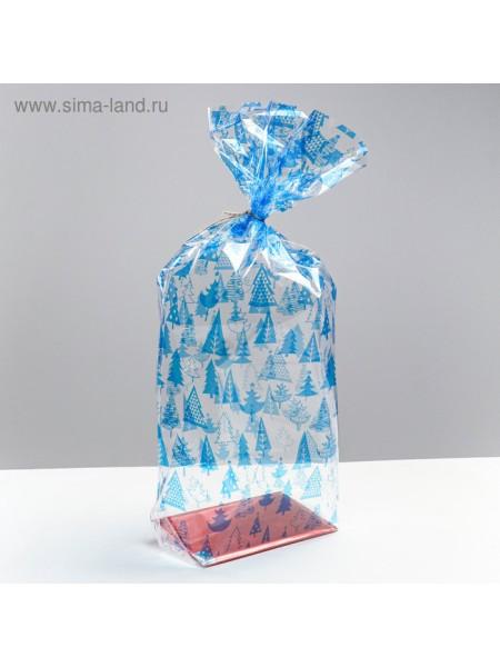 Пакет подарочный с жестким дном Елочки 17 х 50 х 11 см