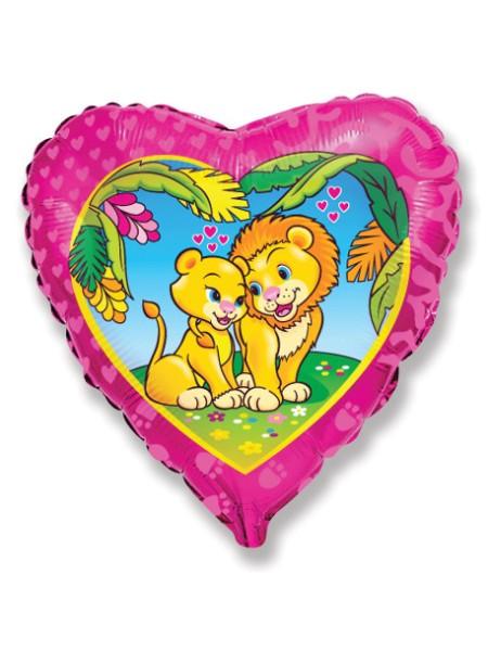 Фольга шар Сердце Влюбленные Львы 18