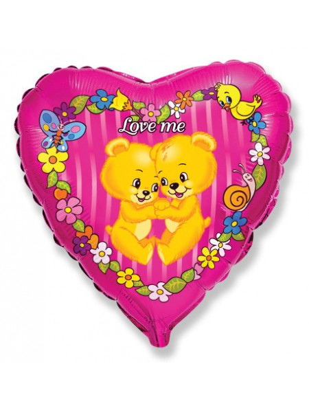 Фольга шар Сердце Медвежата Люби меня 18