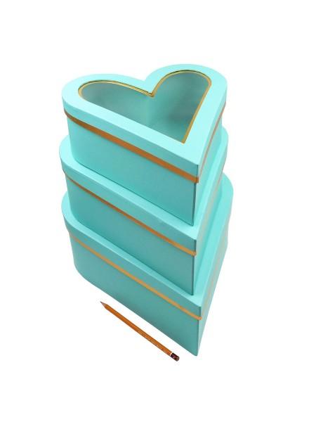 Коробка Сердце  набор 3 шт 30,5 х 35 х 12,5  прозрачная крышка цвет тиффани
