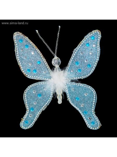 Украшение новогоднее 18 см бабочка голубая капелька