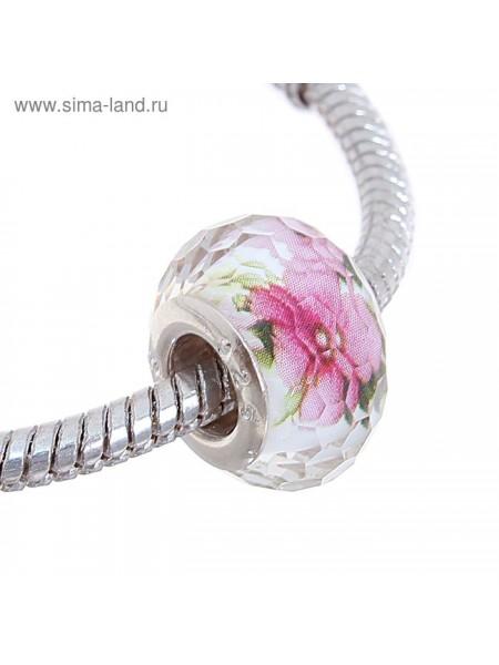 Бусинка прозрачная с цветочками  узор цветной в серебре 1 см × 0,9 см × 0,9 см