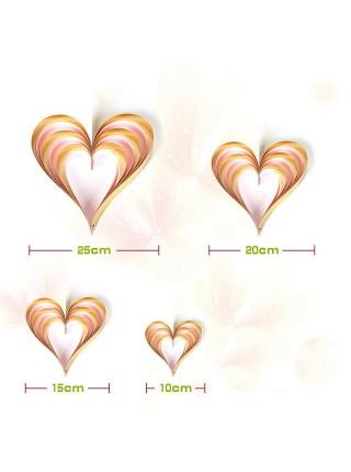 Сердце подвеска набор 4 шт бумага цвет розовый+золото HS-21-12