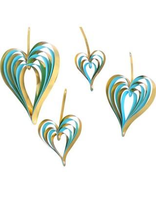 Сердце подвеска набор 4 шт бумага цвет голубой+золото HS-21-12