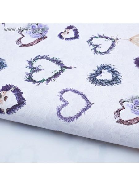 Бумага глянцевая Лавандовые сердечки 100  х 70 см