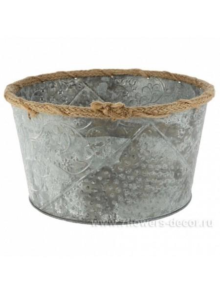 Кашпо цинк 21 х 11,5 см  серый