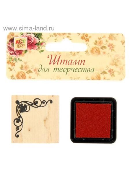 Набор Цветочек в оправе печать угловая 3,3 х 3,3 см штемпельная подушка 3 х см набор 2 шт