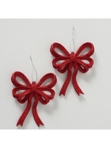 Бант набор 2 шт 14 см цвет красный новый год