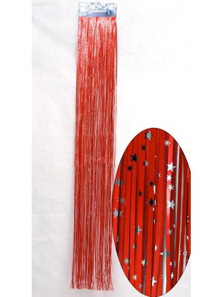 Дождик фольга мелкий со звездами 13 х 100 см цвет красный HS-18-14