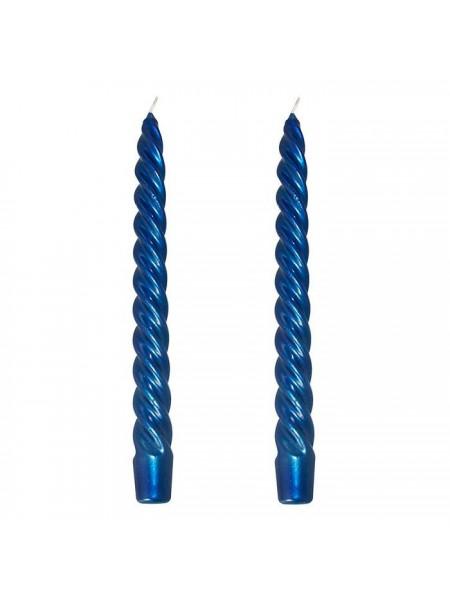 Витая синий металлик свеча упаковка 2шт