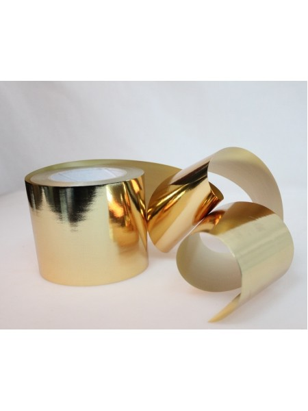 Лента металл 10 см х 50 ярд цвет золотой М1050 ст76-19золото